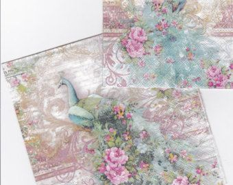 "Beautiful  decoupage napkins - PUNCH STUDIO - "" Baroque Peacock "" 2 paper napkins"
