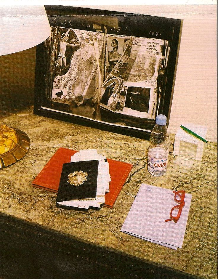 A Peter Beard Collage Resting On A Side Table In Lee Radziwillu0027s Paris  Apartment.