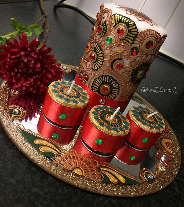 • Back Design - Candle set for a lovely customer • For any orders or enquiries please email - farhanaz_creationz@hotmail.com or DM  #farhanaz_creationz #Gold #Green #red #FlowerDesign #Gems #HennaInspire #CandleSet #Bespoke #IntricateDesign #Mehndi #Henna #Flower #Zukreat #Candle #Thaal #HennaCandles #Wedding #WeddingInspiration #Gift #WeddingGiftIdea