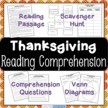 Thanksgiving Reading Comprehension:  Students read a one page reading comprehension passage that compares Thanksgiving in Canada to Thanksgiving in America. Then, students complete a variety of reading comprehension activities based on this Thanksgiving reading comprehension passage.