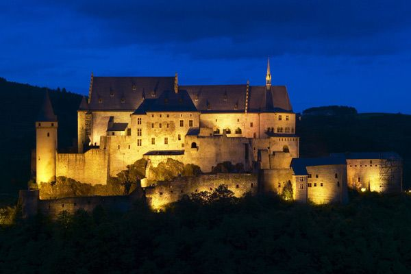 Luxembourg view of Castle at night