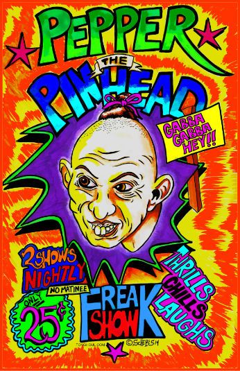 PEPPER PINHEAD MONSTER ART POSTER AMERICAN HORROR STORY INSPIRED ART SIGNED #'D  #OutsiderArt