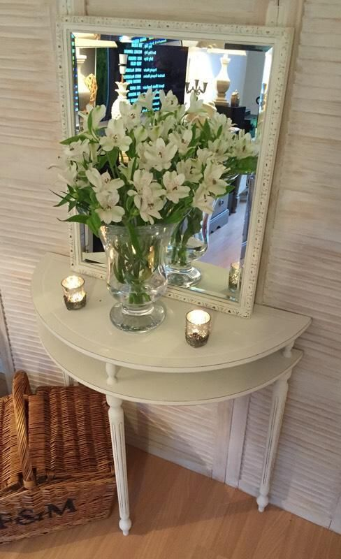 Beautiful Half Moon Table And Mirror Painted Annie Sloan Burghfield Common Berkshire