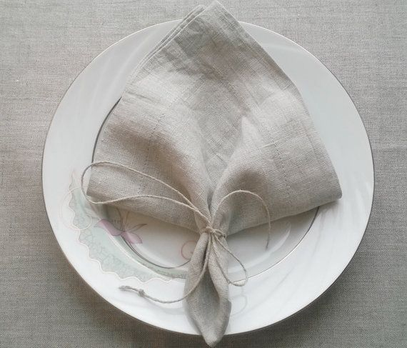 Gray Linen Napkins Set of 6  Rustic Linen Napkins  by MyDearLinen