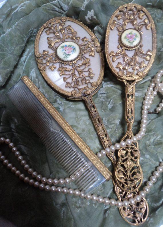 Antique Victorian Dresser Set Gold Gilt By Eraantiquesandfinds 250 00
