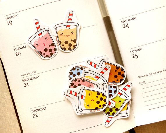 Sweet Delicious Tapioca Bubble Tea Sticker by BeagleCakesArt
