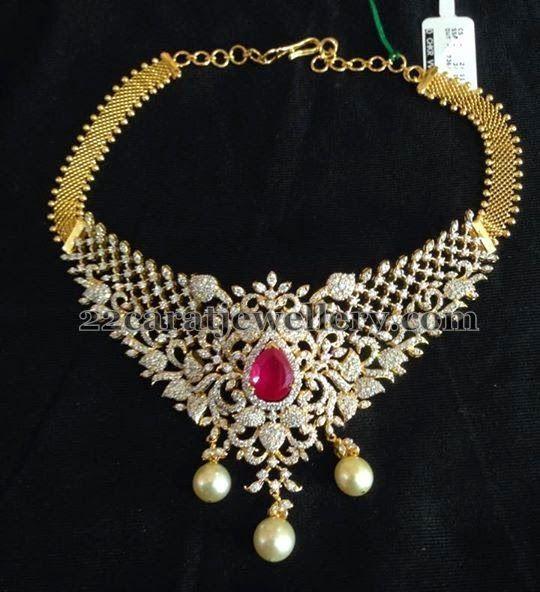 Jewellery Designs: Diamond Necklace with Peacocks Rubies