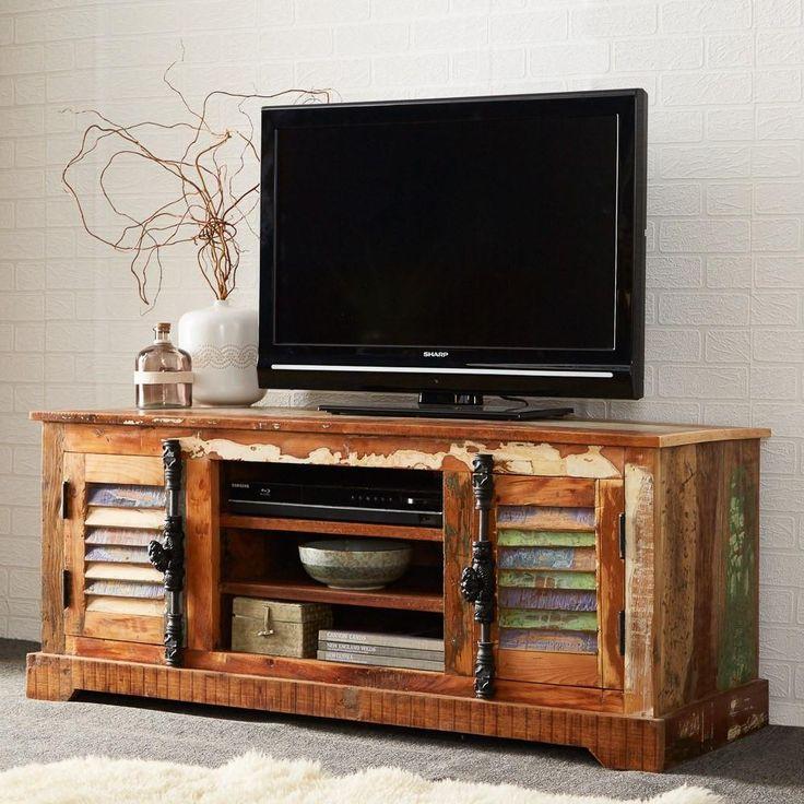 instrument BOAT small TV unit (W125 x D45 x H52 cm) - 2 Doors  - 2 Shelves  - 100% reclaimed wood - Eco friendly