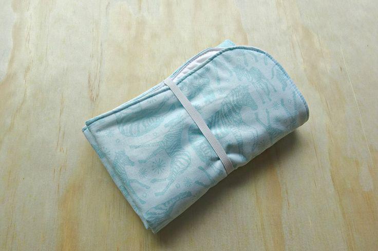 Aqua zebra pattern wipeable baby change mat cover. change mat cover. nappy wallet change mat by BitsandBobs4Bubs on Etsy