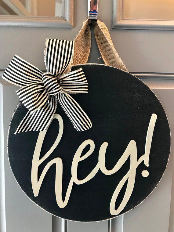 Hey Door Hanger, Door Decor, Wreaths For Front Door, Front ...