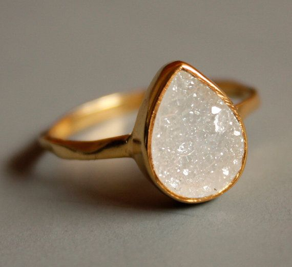 White Agate Druzy Ring, $53 | 28 Pieces Of Jewelry That Look More Expensive Than They Are