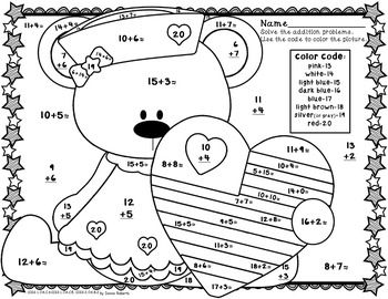 addition coloring pages for kids printables   Patriotic Fun Color By Code Addition sums 0-20 Summer ...