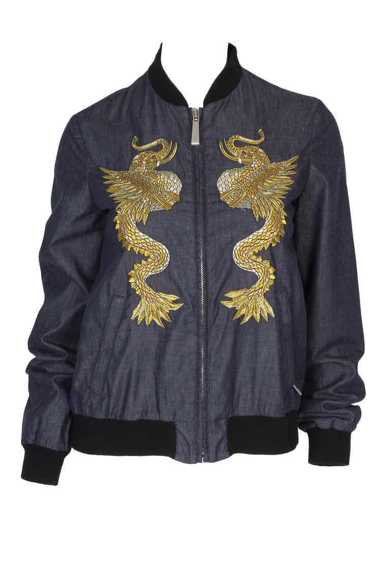 A bomber jacket is a must-have item this Spring! With a bold print, this jacket definitely makes a statement! #robertocavalli #cavalli #ss13 #bomberjacket #abudhabi2013 #greenbird #gold #silver #elephant #dragon #embroidery #denim #jeanjacket #zipup
