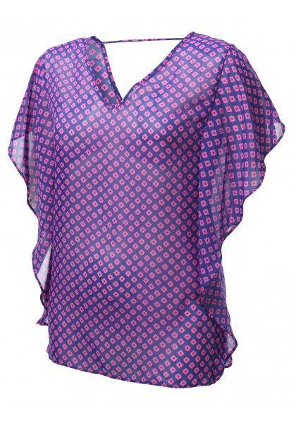 Loose Short Sleeve Geometric Printed Chiffon Blouse - New Arrival