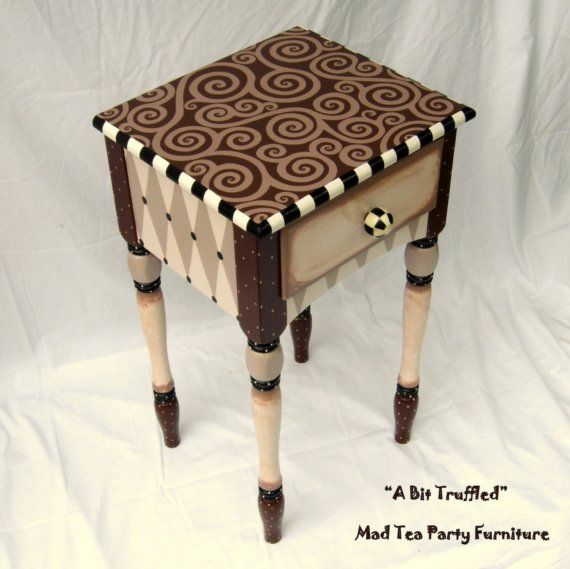Hand Painted End Table A Bit Truffled Reserved Listing