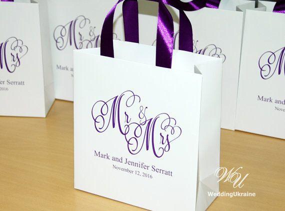 30 Wedding Gift Bags with Purple satin ribbon by WeddingUkraine