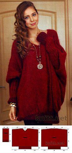Вязаный спицами бордовый свитер | knitt.net | Все о вязании