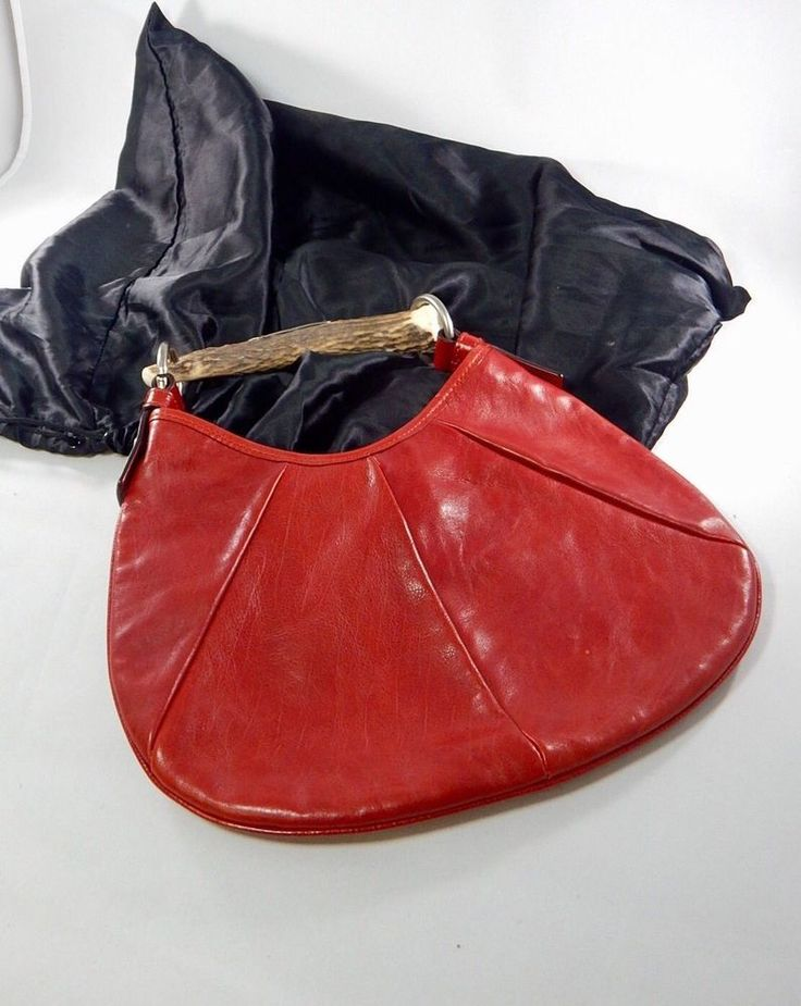 2002 Tom Ford For YSL Mombasa Hobo Bag Red Leather Horn Handle