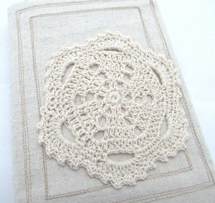 Visual Journal Slip Cover - Hemp Doily Love  No 2