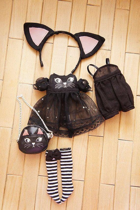 Le chat noir limité définit pour la poupée blythe par sunnypigs