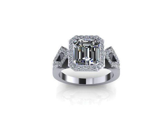 14K White Solid Gold Diamond Ring Engagement Ring by Armante, $1463.00 #diamond #ring #engagement