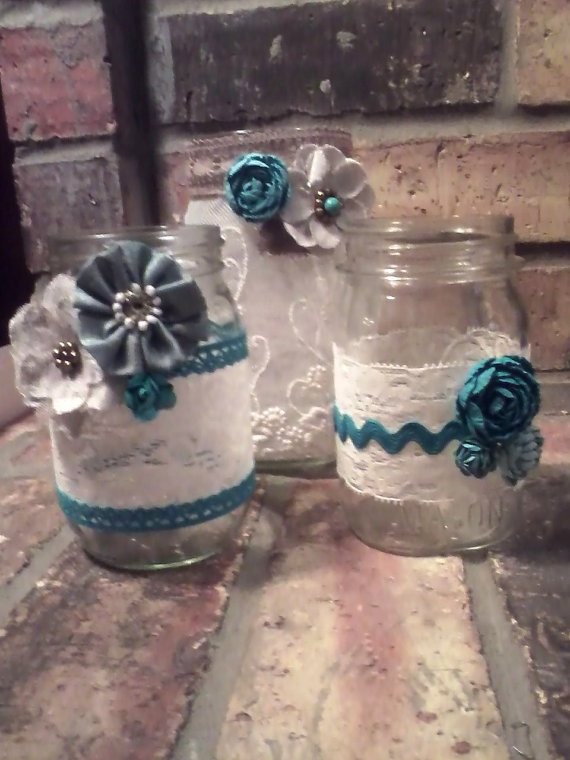 Teal Shabby Chic hand decorated Mason Jars by missmannette on Etsy, $36.00