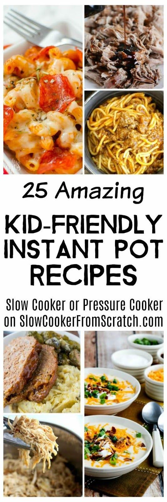 Here are 25 Amazing Kid-Friendly Instant Pot Recipes to help with those Back-to-School dinners you may be needing soon! This round-up is loaded with quick and easy Instant Pot (or Pressure Cooker) dinner ideas, plus there's a link to our collection of Kid-Friendly Slow Cooker Recipes if you prefer that method. [found on Slow Cooker or Pressure Cooker]