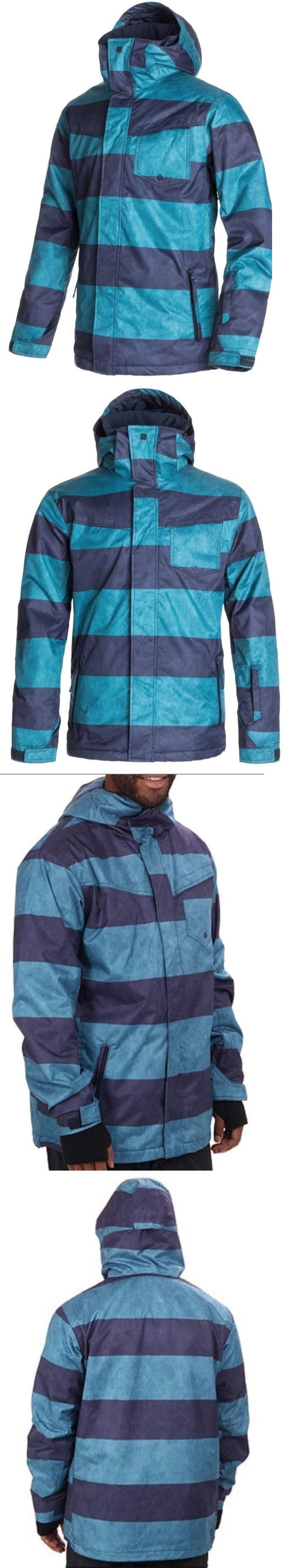 Coats and Jackets 26346: New Quiksilver 10K Mens Snow Jacket Ski Blue Striped Size S M Xxl -> BUY IT NOW ONLY: $38.99 on eBay!