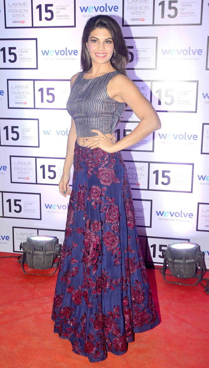 Jacqueline Fernandez on Day 1 of the Lakme Fashion Week 2015.