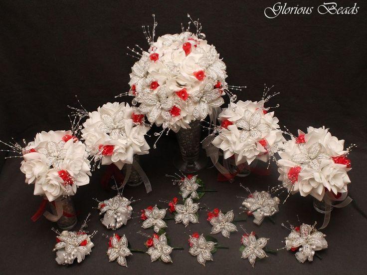 WHITE / RED BEADED LILY Bridal Bouquet Wedding Flower 17 Piece Package Beads #GloriousBeadsBeadedBridalandWeddingFlowers