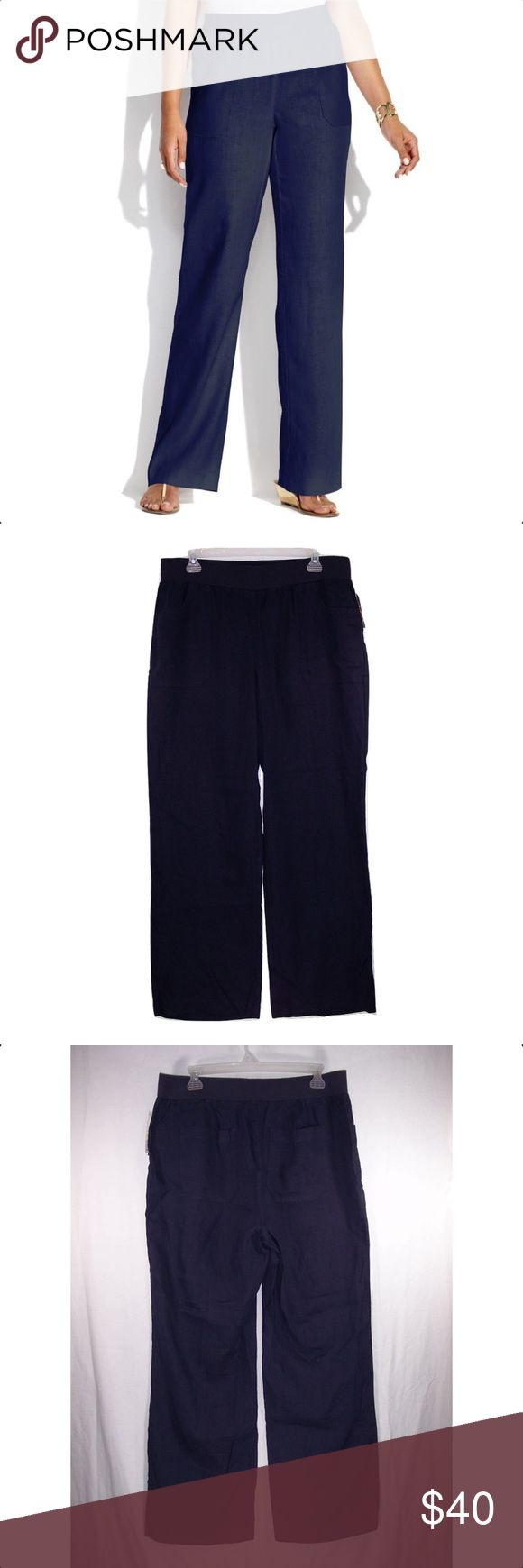 INC International Concepts Wide Leg Linen Pants Navy in color, pull on style with a wide elastic waistband, front pockets, back patch pockets, wide legs, fabric is 100% Linen and machine washable. Measurements: 16W waist-36 to 44 (stretched), rise-11, hips-50, inseams-30 1/2. 18W waist-38 to 46 (stretched), rise-11 1/2, hips-52, inseam-31 1/2. NWT INC International Concepts Pants Wide Leg