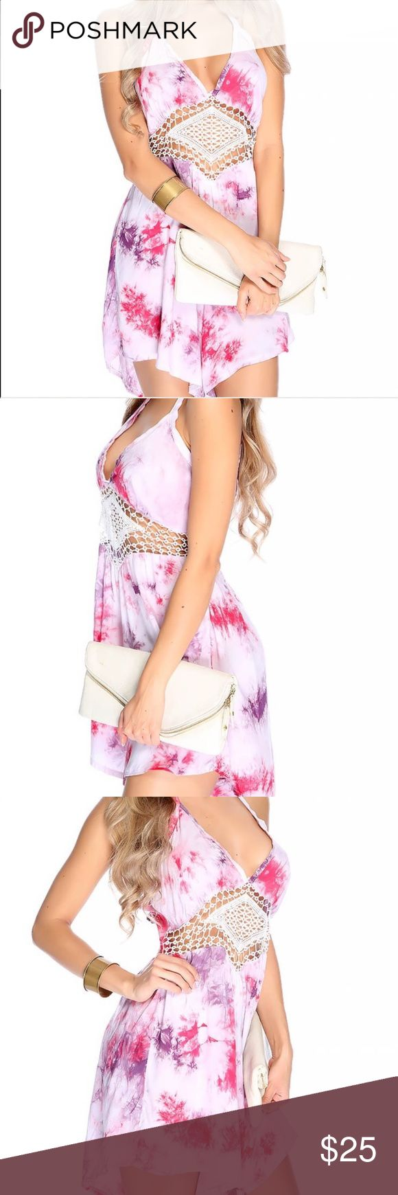 Tie Dye Romper Pink Summer Be summer-ready with this light weight romper, perfect for those hot sunny days! ☀️ Wear with sandals & sunglasses for a day out at the beach by day. Wear with a denim jacket & wedges by night! The crochet adds extra detail & the fun color mix makes it perfection! 💜💞 kandy kouture Dresses Mini