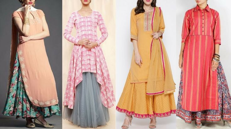 Long kurti with skirt style / Trendy long kurti with skirt Designs/ Long...