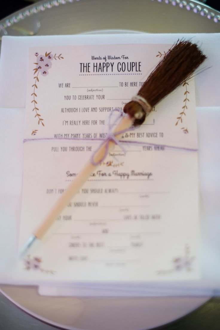 """Harry Potter Mad lib for wedding. I used these mad libs in lieu of a guest book. The broomstick pen said """"mischief managed"""" on it."""