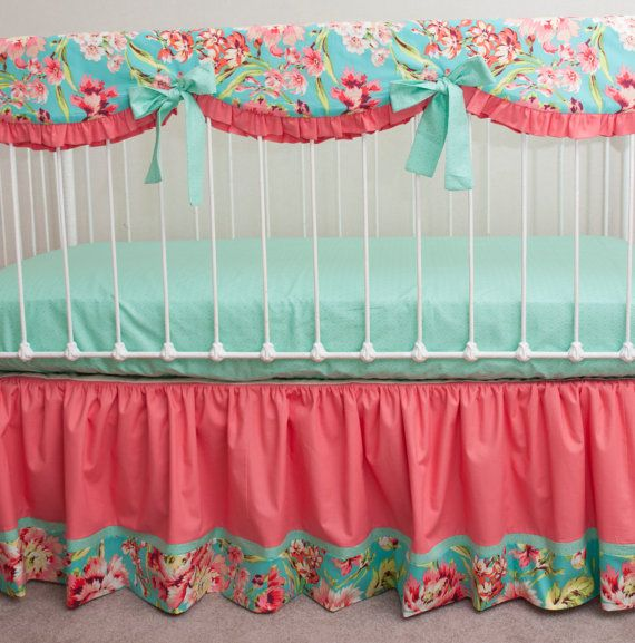 Bumperless Teal, Coral, and Mint Designer Baby Girl Crib Bedding with Crib Rail Guard / Rail Cover on Etsy, $275.00