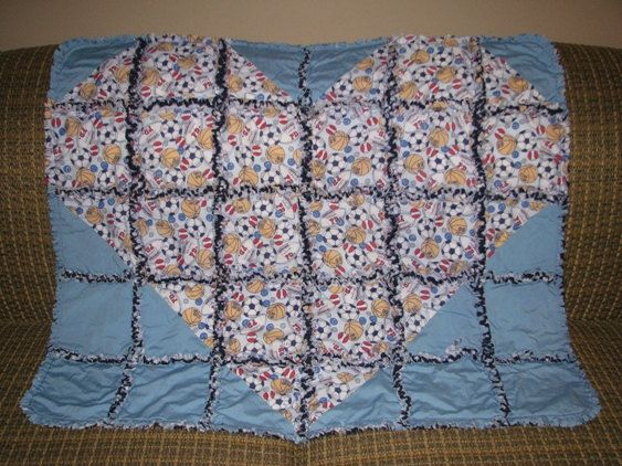 Sports Mix  Special Heart baby Rag Quilt / Mini by mamcreations, $105.00