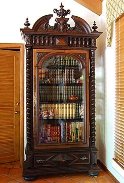 French Antique Renaissance style Carved Bookcase. Lovely piece for Nouveau Bohemian styling.