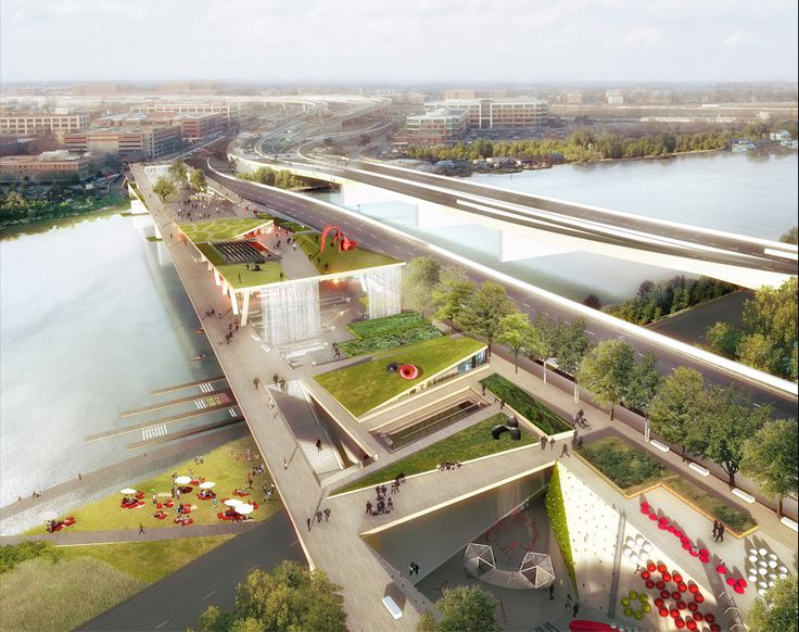 Concept for D.C.'s first elevated park - 11th street bridge park - design by Olin/OMA