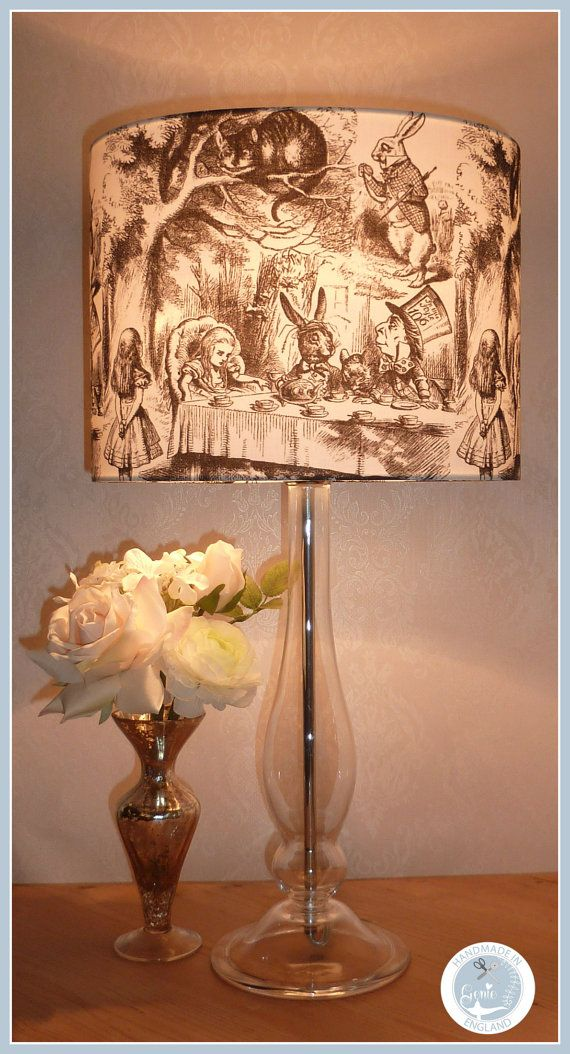 Handmade Alice in Wonderland Mad Hatter Tea Party Lampshade / Light Fitting / Lamp Shade 20 25 30 35 and 40 cm sizes