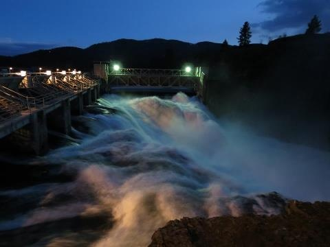 Post Falls,Idaho...post falls dam at sunset.
