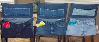 Chair Back Storage Bags for Schoolchildren out of Jeans