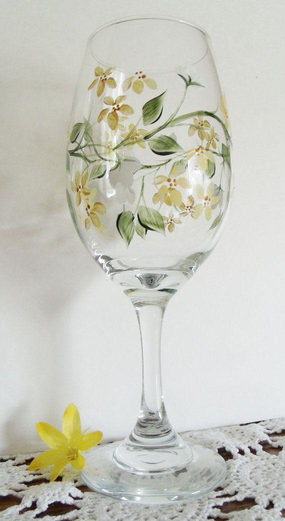 Hand Painted Bridesmaid Wine Glasses