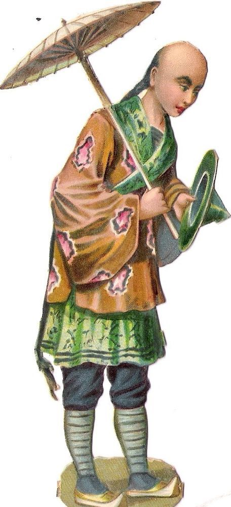 Oblaten Glanzbild scrap die cut chromo Chinese Japanese national costume Japain