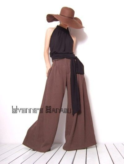 Brown Linen Cotton Wide Leg Trousers Straight Bell Bottom Pants by yystudio