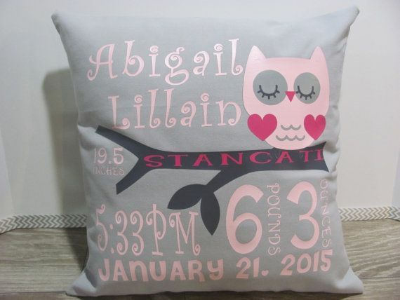 Birth Announcement Pillow COVER  Personalized by hipbabyboutique