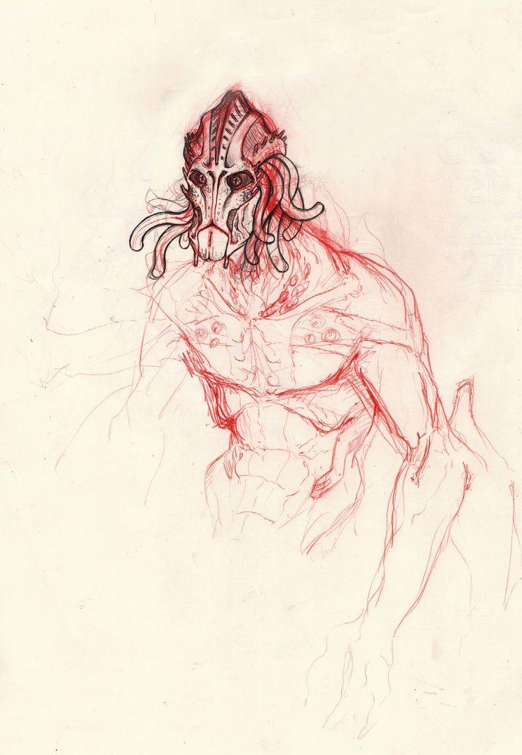 Alien sketch by Lapo Roccella on ArtStation.