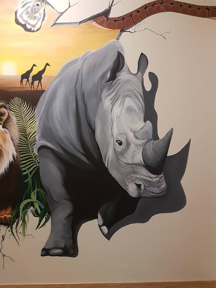 #mural#rhino#wild#breakout#snake#monkey#wall#paint