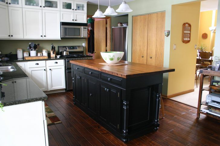Classic Black Painted Wooden Kitchen Island With Varnished Butcher Block Counter Top Mar Black Kitchen Island Kitchen Island Bar Height Portable Kitchen Island