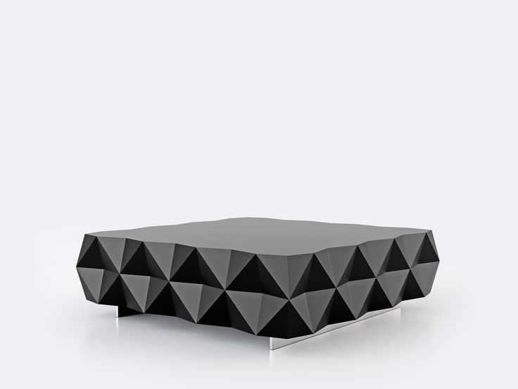 Coffee table from the Rocky Collection designed by Joel Escalona, detailed on it's four sides with pyramidal pattern. Made of particle board and chromed metal legs. Finished in semi-gloss lacquer. #Design #furniture #coolinteriors #table