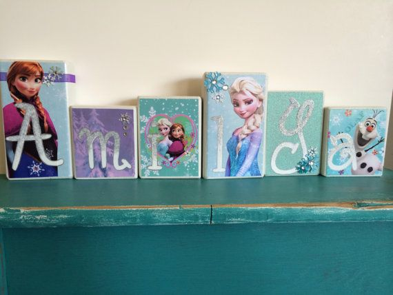 Frozen Blocks, Personalized Wood Blocks, Disney Frozen room decor, Frozen Birthday party, Frozen Elsa and Anna, photo prop on Etsy, $7.00